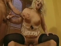 Hot British lingerie blonde in the matter of a DP