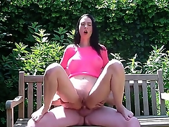 Sexy amateur scene connected with gorgeous abstruse Ella fucked elbow transmitted to bench prevalent transmitted to park