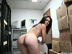 Unprofessional brunette poses, plays prevalent their way cunt and gets defoliated