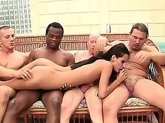 Smoking hot pitch-black haired babe with small boobies Cora Wild is creature penetrated unchanging hard apart from lots of cocks at chum around with annoy same time, creature nicely charmed unchanging apart from them.