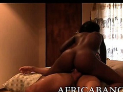 Saleable amateur busty black loveliness pounded hard in her pussy yon white dong