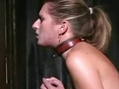 A blonde lackey girl takes a whipping